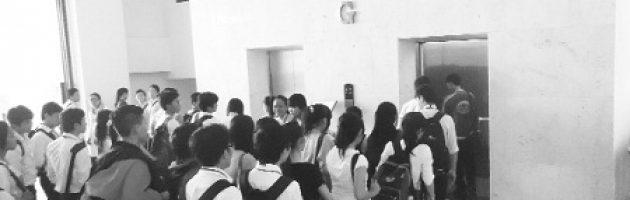 Chờ thang máy tại trường học
