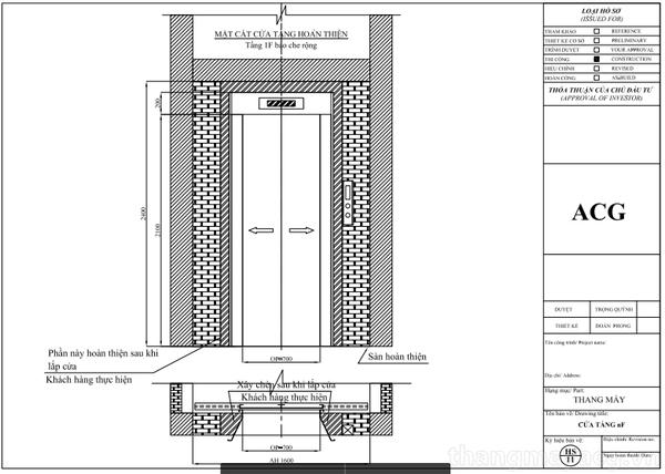 Kích thước cửa thang máy