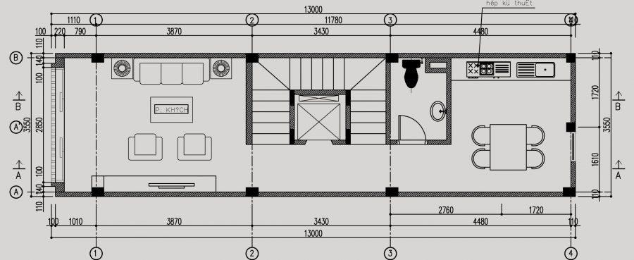 Thiết kế thang máy nằm giữa thang bộ