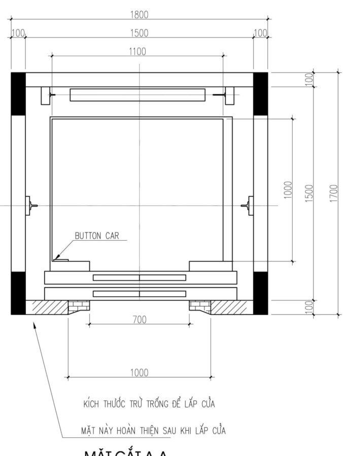 Thiết kế hố thang máy kích thước 1600mm x 1600mm
