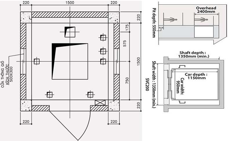 Thiết kế sàn phòng máy thang máy Mitsubishi