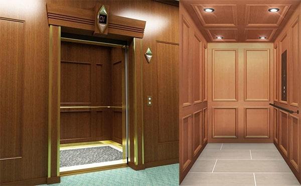 Vật liệu gỗ sử dụng cho cabin thang máy
