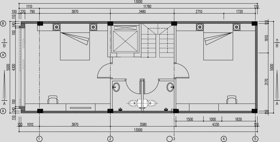 Thiết kế cầu thang máy nằm cạnh thang bộ