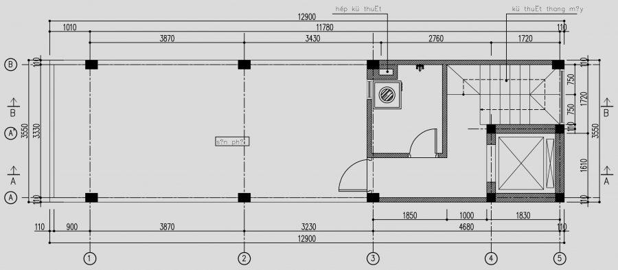 Thiết kế thang máy cuối nhà
